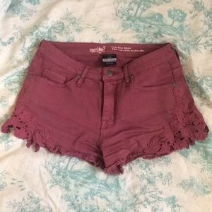 Maroon high rise denim shorts with side lace